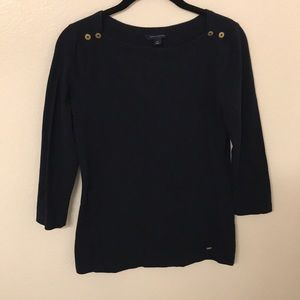 Tommy Hilfiger Navy Blue Mid Length Sleeve Top